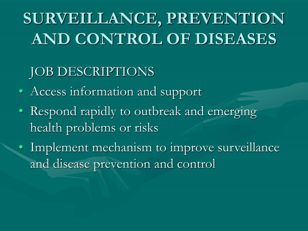 SURVEILLANCE, PREVENTION  AND CONTROL OF DISEASES