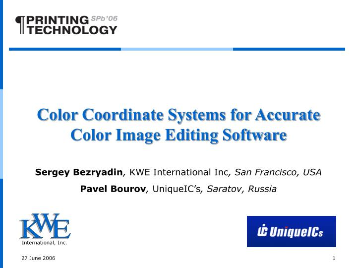 color coordinate systems for accurate color image editing software n.