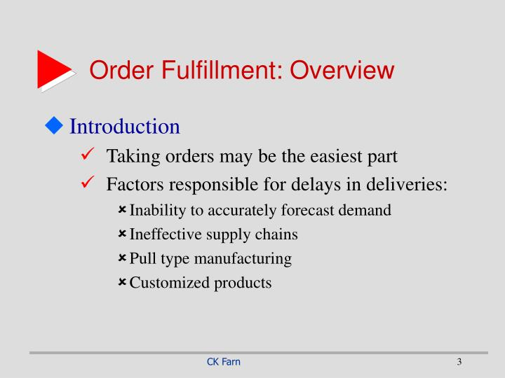 Order fulfillment overview