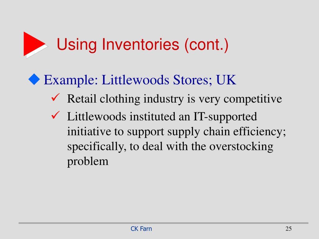 Using Inventories (cont.)