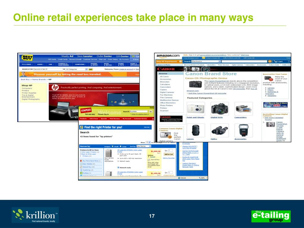 Online retail experiences take place in many ways