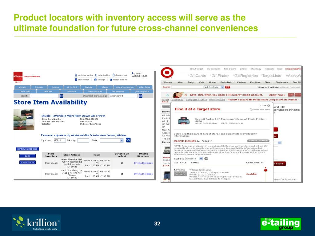 Product locators with inventory access will serve as the
