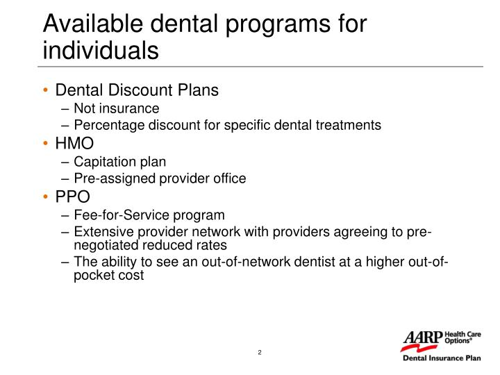 Available dental programs for individuals