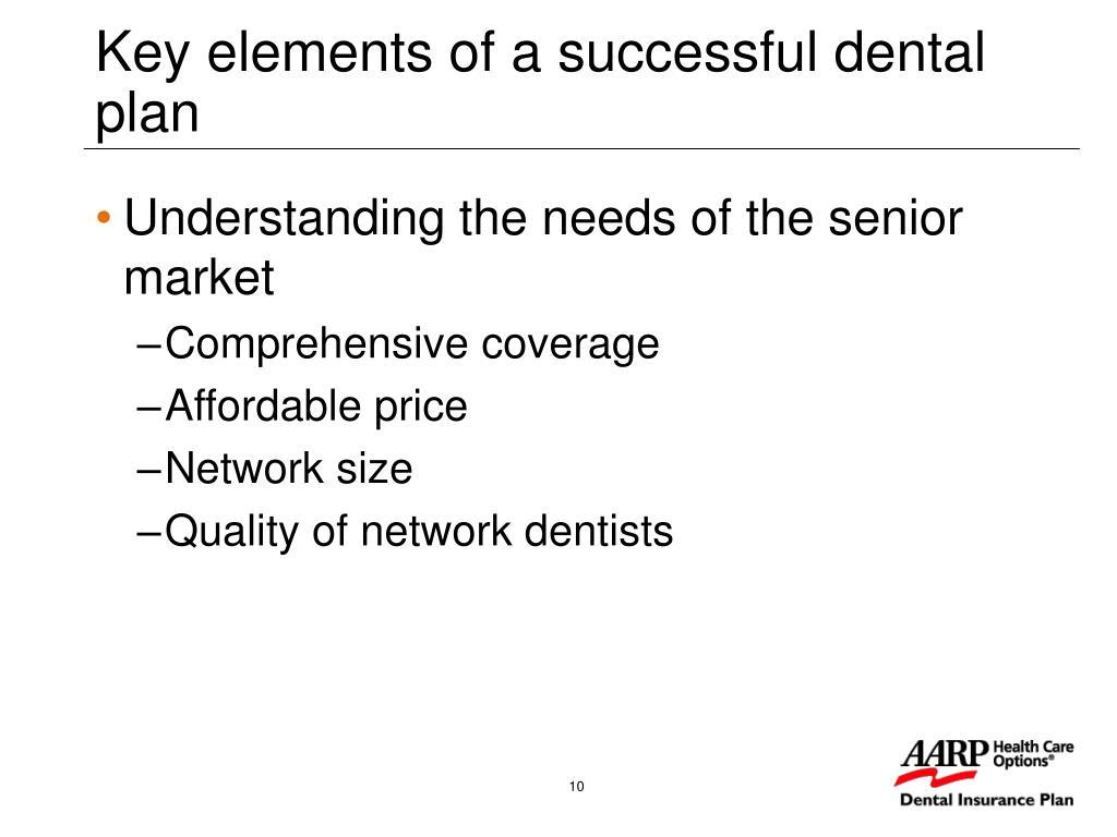 Key elements of a successful dental plan
