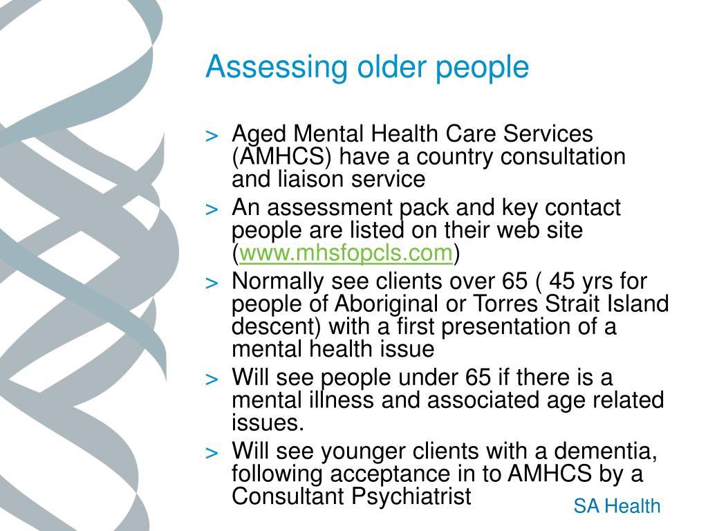 Assessing older people