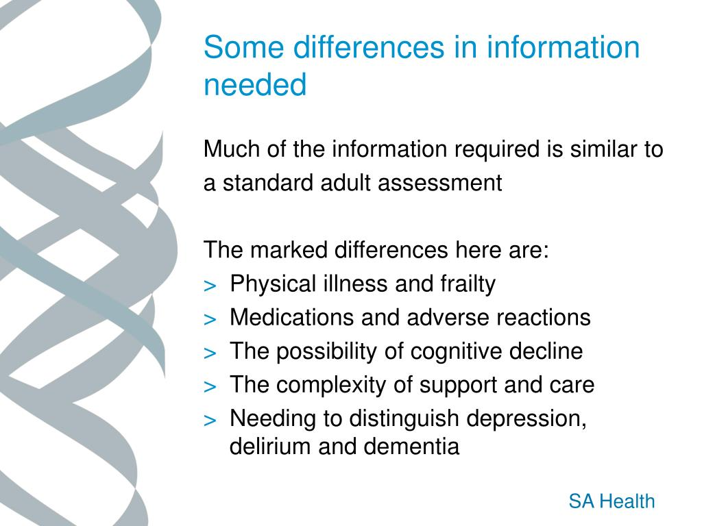 Some differences in information needed