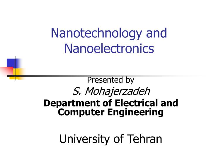nanotechnology and nanoelectronics n.