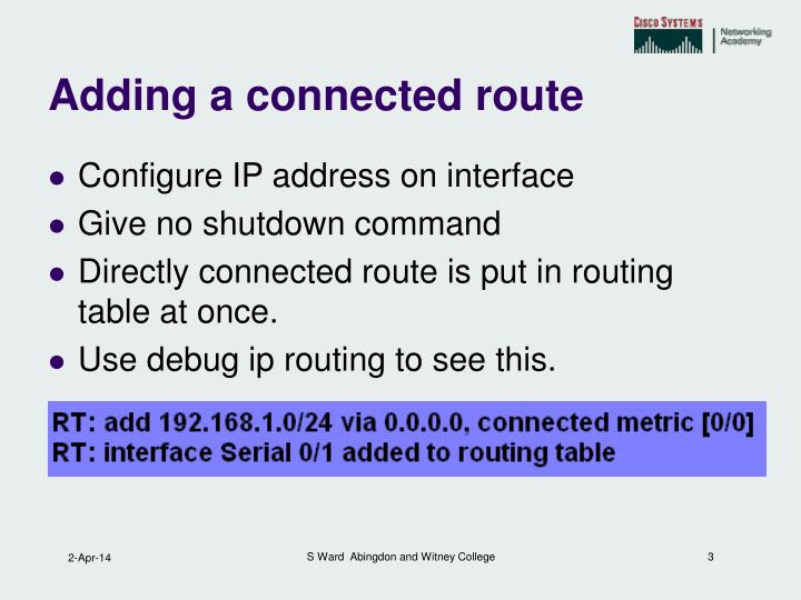 Adding a connected route