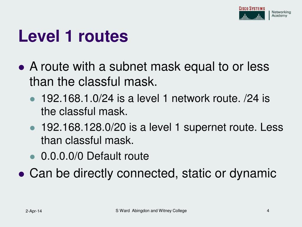 Level 1 routes