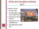 what are travelers looking for