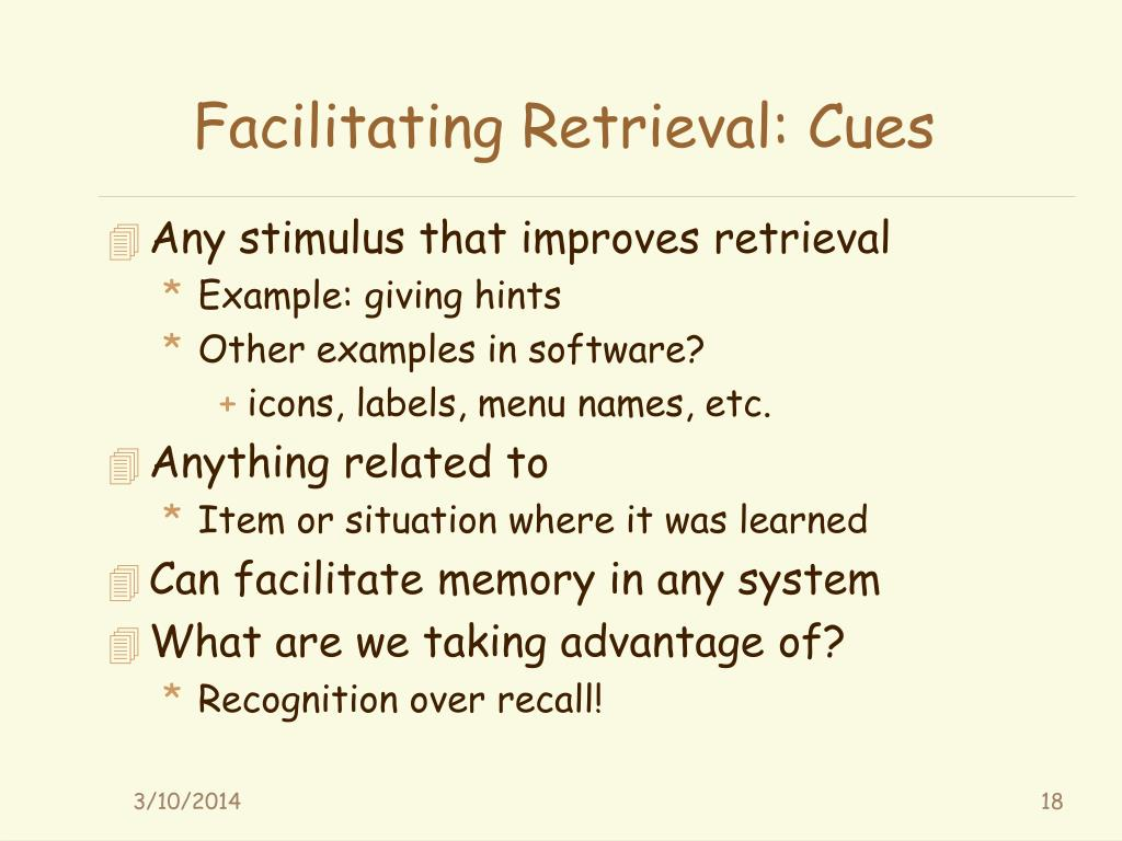Facilitating Retrieval: Cues