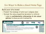 six ways to make a good home page41