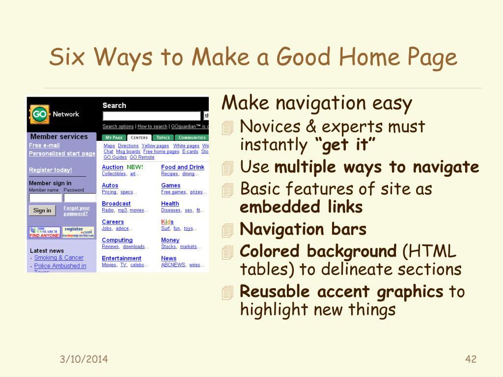 Six Ways to Make a Good Home Page