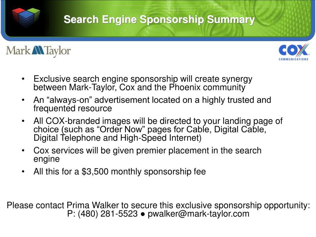 Search Engine Sponsorship Summary