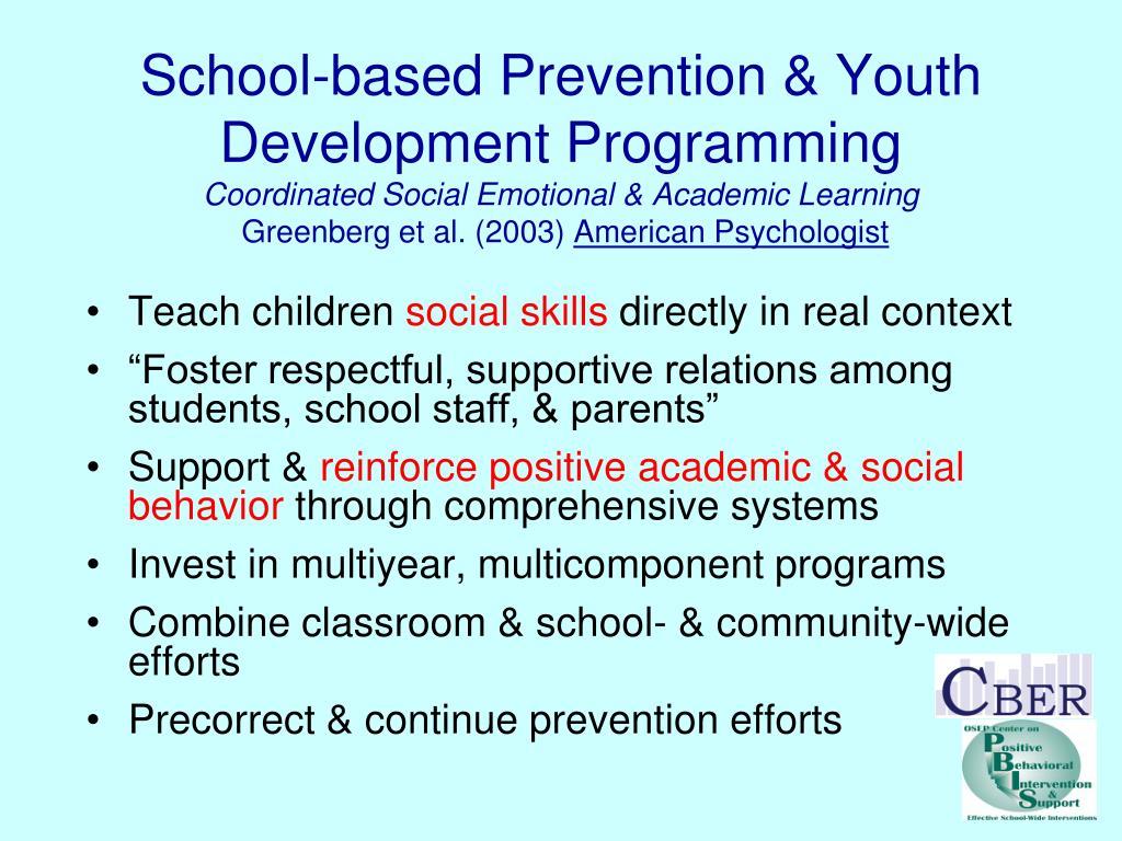 School-based Prevention & Youth Development Programming