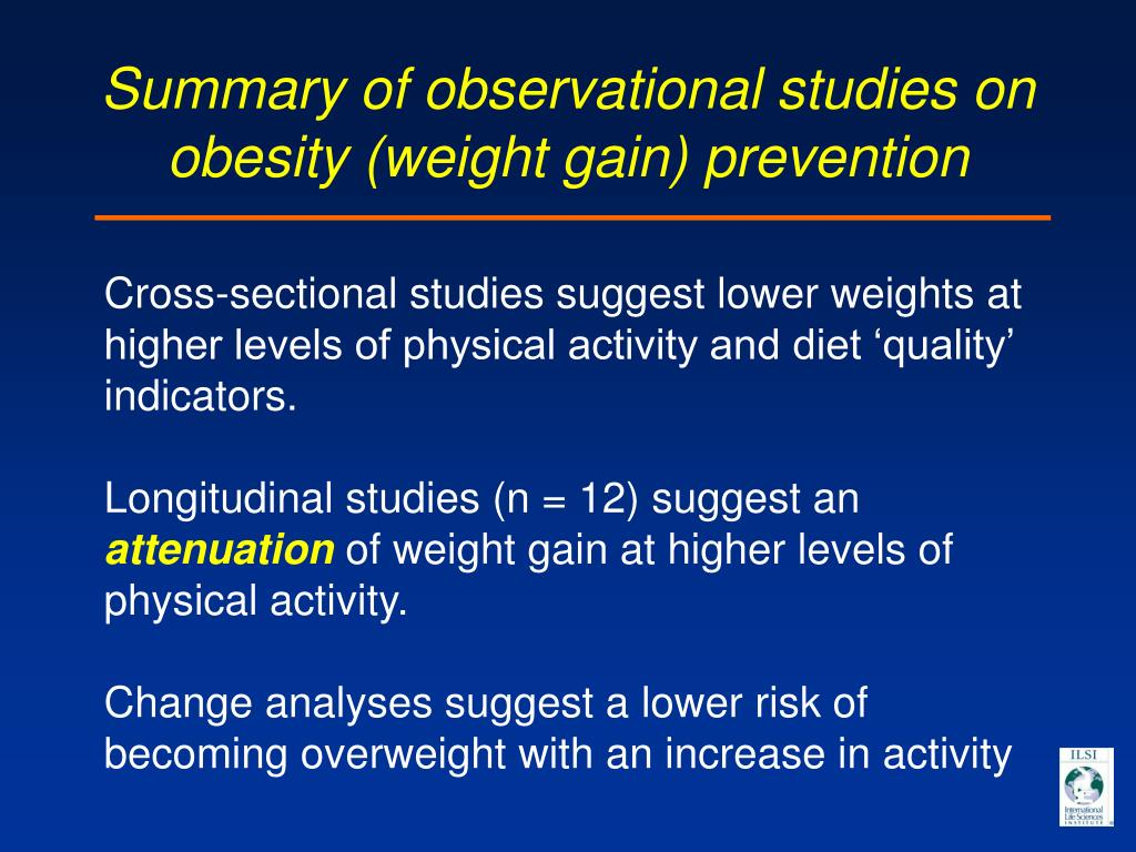 Summary of observational studies on obesity (weight gain) prevention