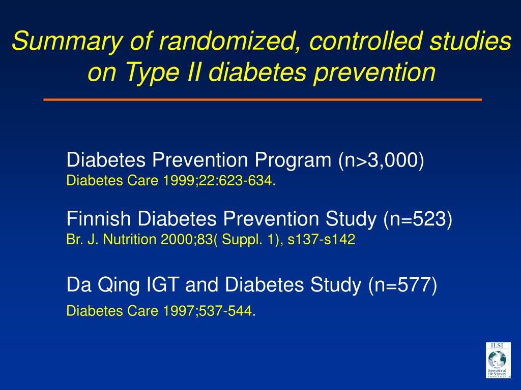 Summary of randomized, controlled studies on Type II diabetes prevention