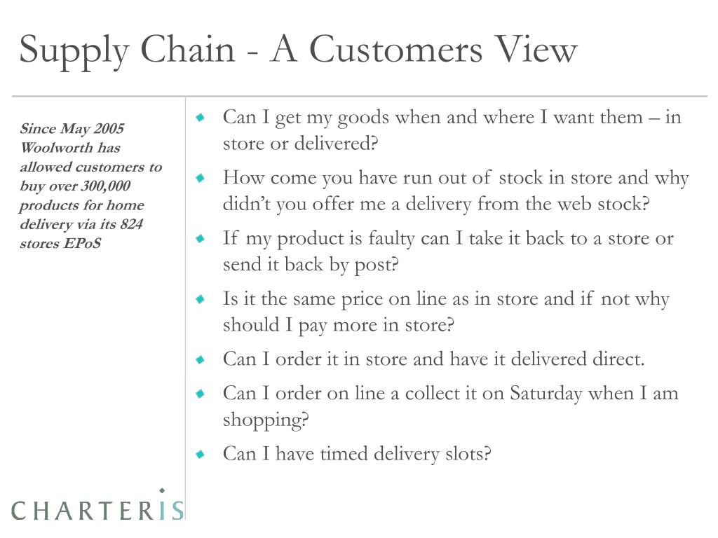 Supply Chain - A Customers View