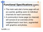functional specifications cont