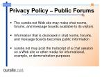privacy policy public forums