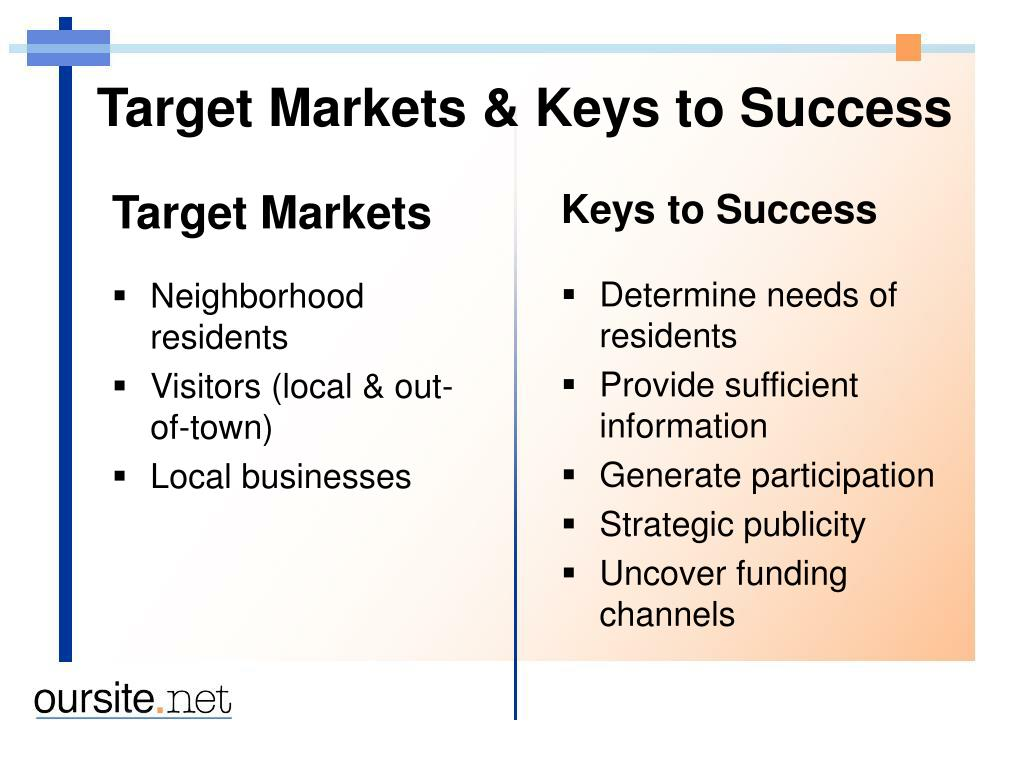 Target Markets & Keys to Success
