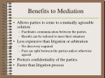benefits to mediation