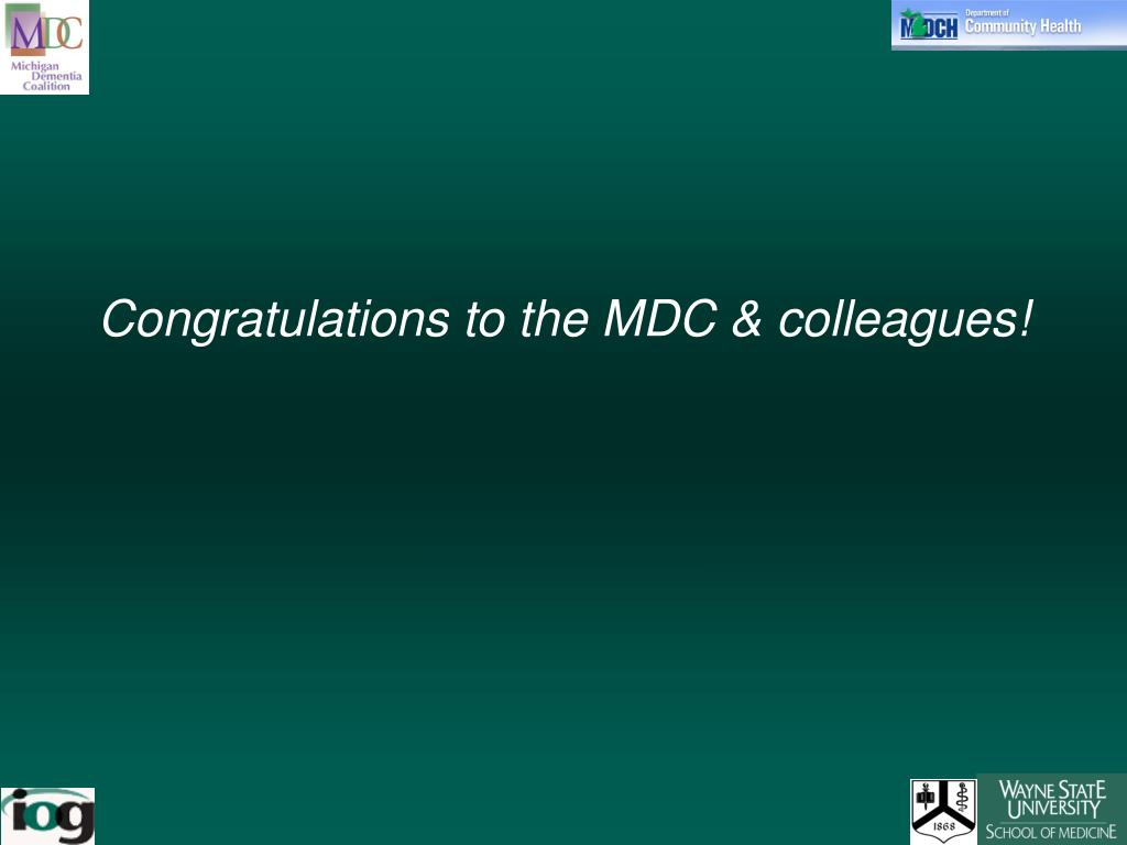 Congratulations to the MDC & colleagues!