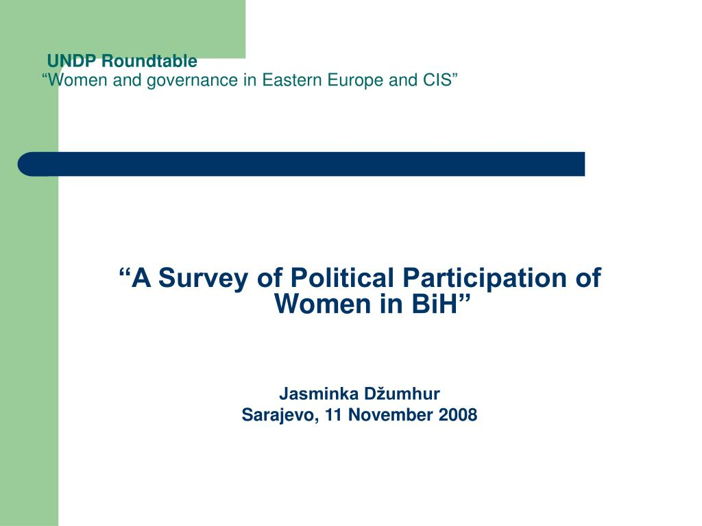 undp roundtable women and governance in eastern europe and cis l.