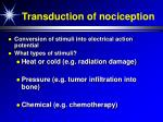 transduction of nociception