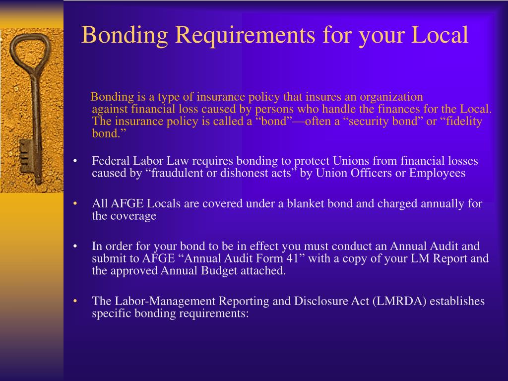 Bonding Requirements for your Local