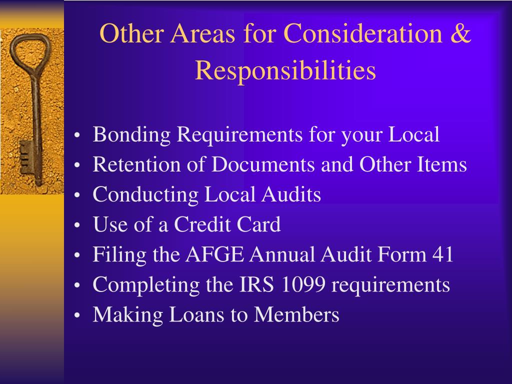Other Areas for Consideration &