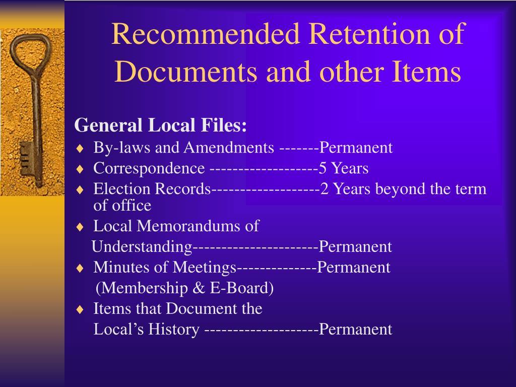 Recommended Retention of Documents and other Items