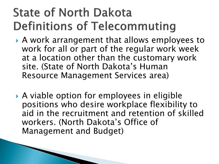 State of north dakota definitions of telecommuting