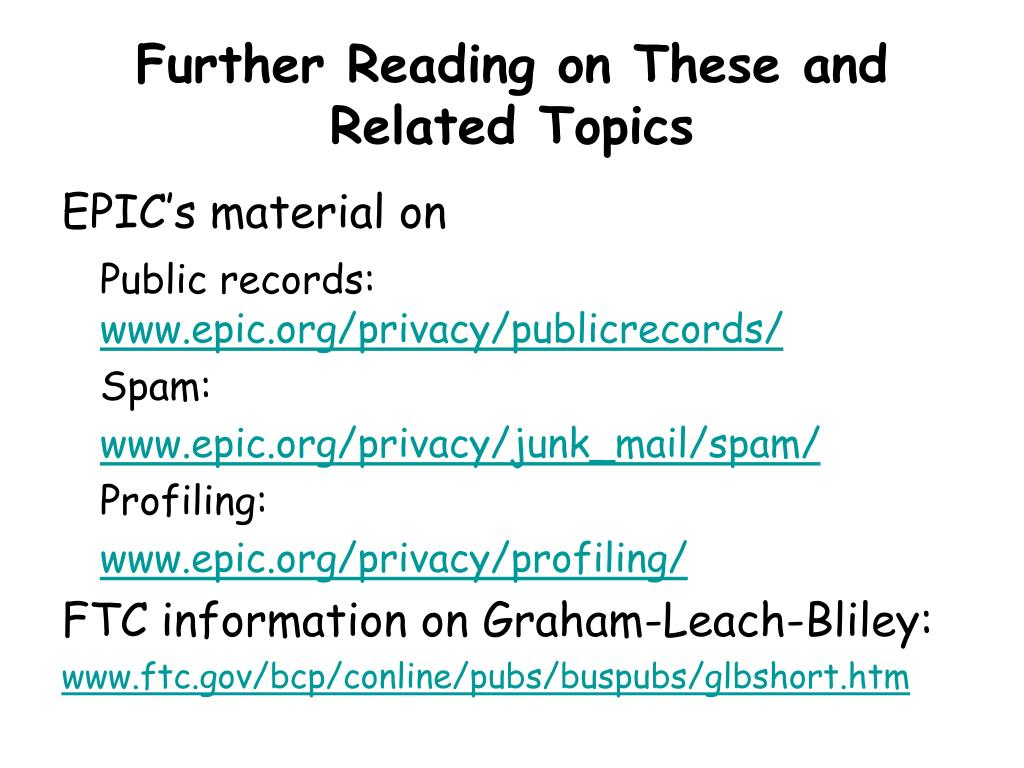 Further Reading on These and Related Topics