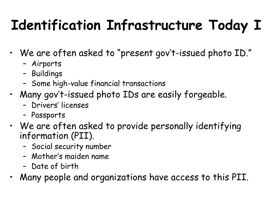 Identification Infrastructure Today I