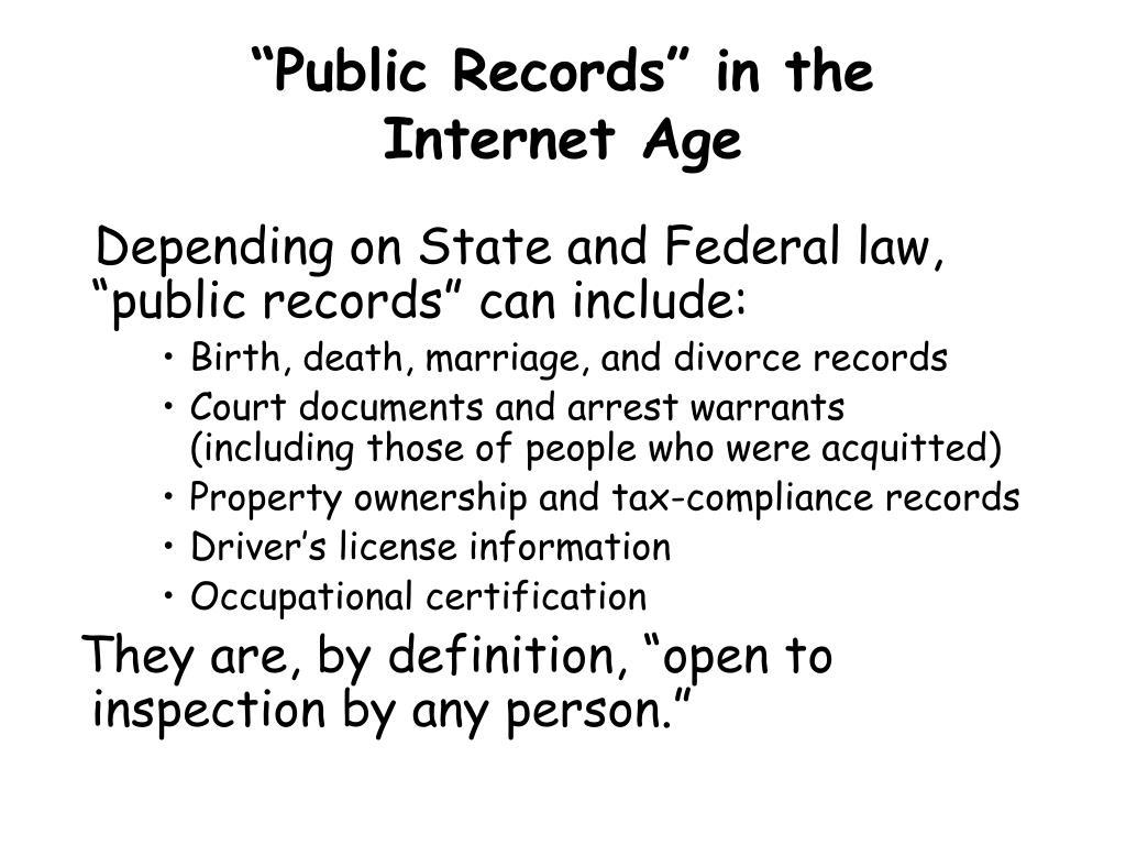 """""""Public Records"""" in the"""