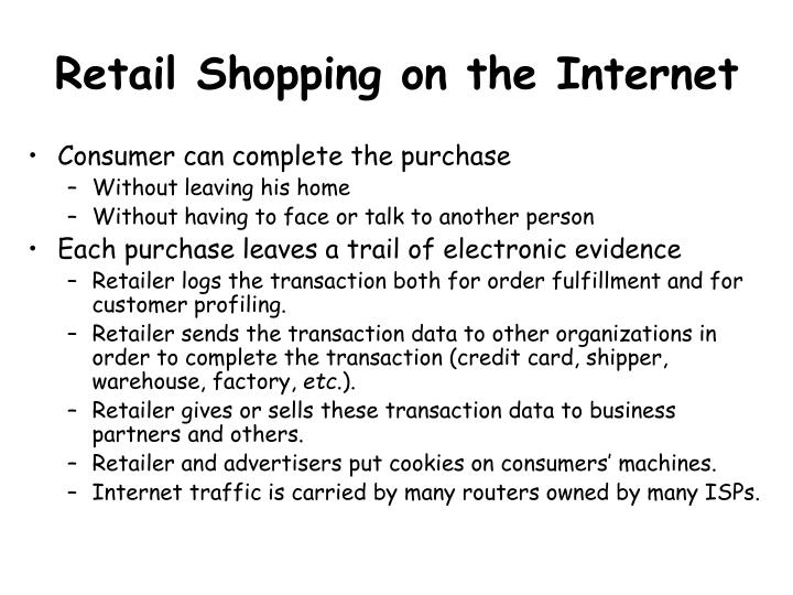 Retail shopping on the internet