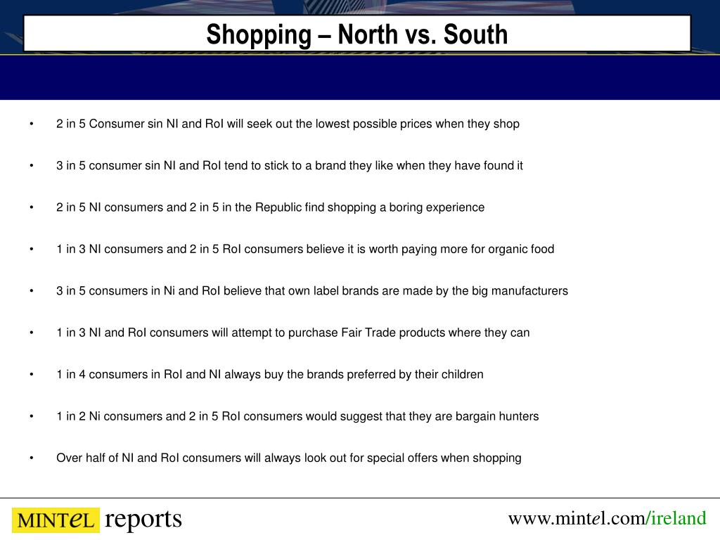 Shopping – North vs. South