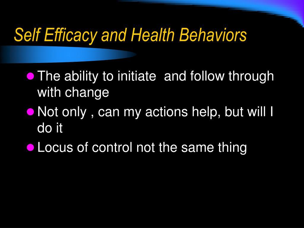 Self Efficacy and Health Behaviors