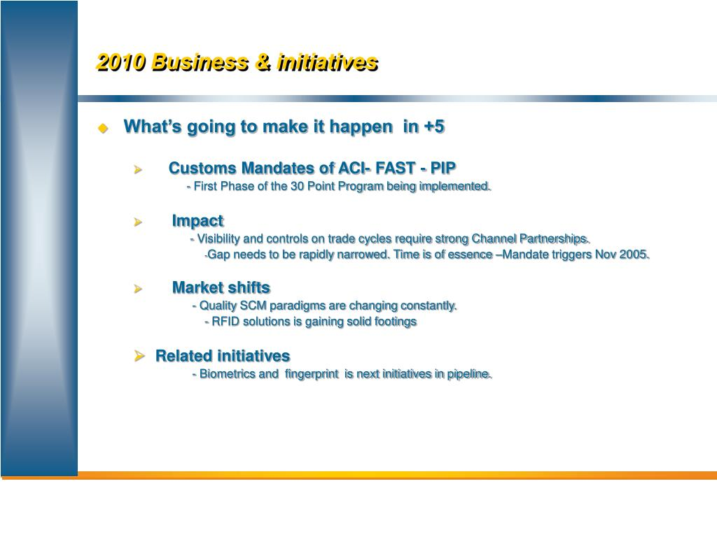 2010 Business & initiatives