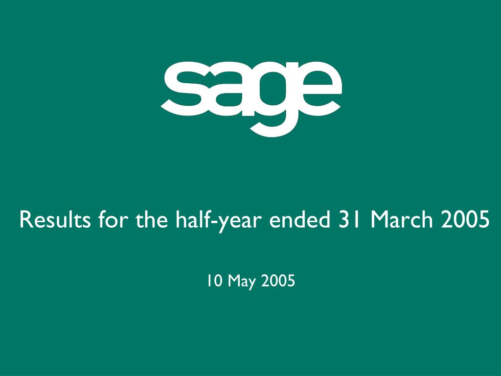 results for the half year ended 31 march 2005 l.
