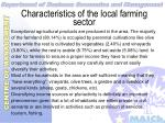characteristics of the local farming sector