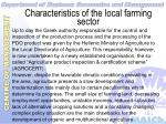 characteristics of the local farming sector10