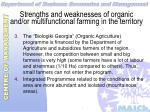 strengths and weaknesses of organic and or multifunctional farming in the territory40