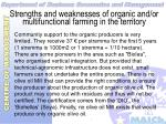 strengths and weaknesses of organic and or multifunctional farming in the territory41