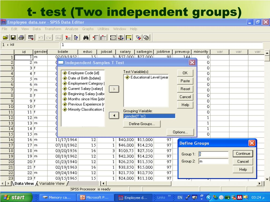 t- test (Two independent groups)