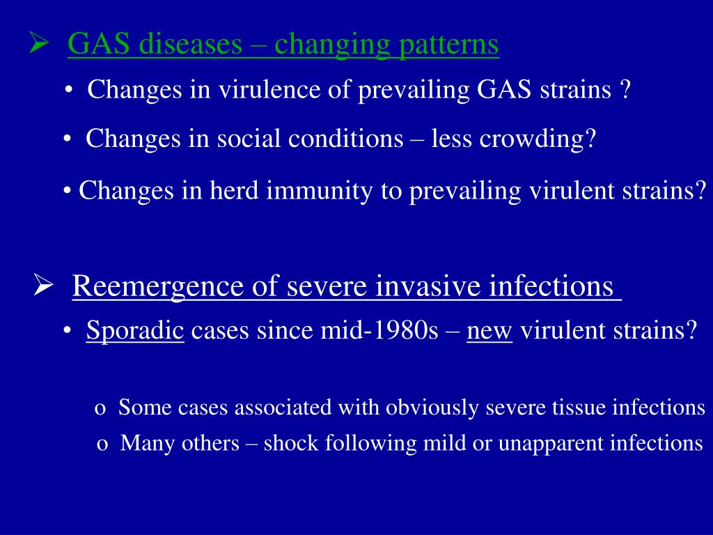 GAS diseases – changing patterns