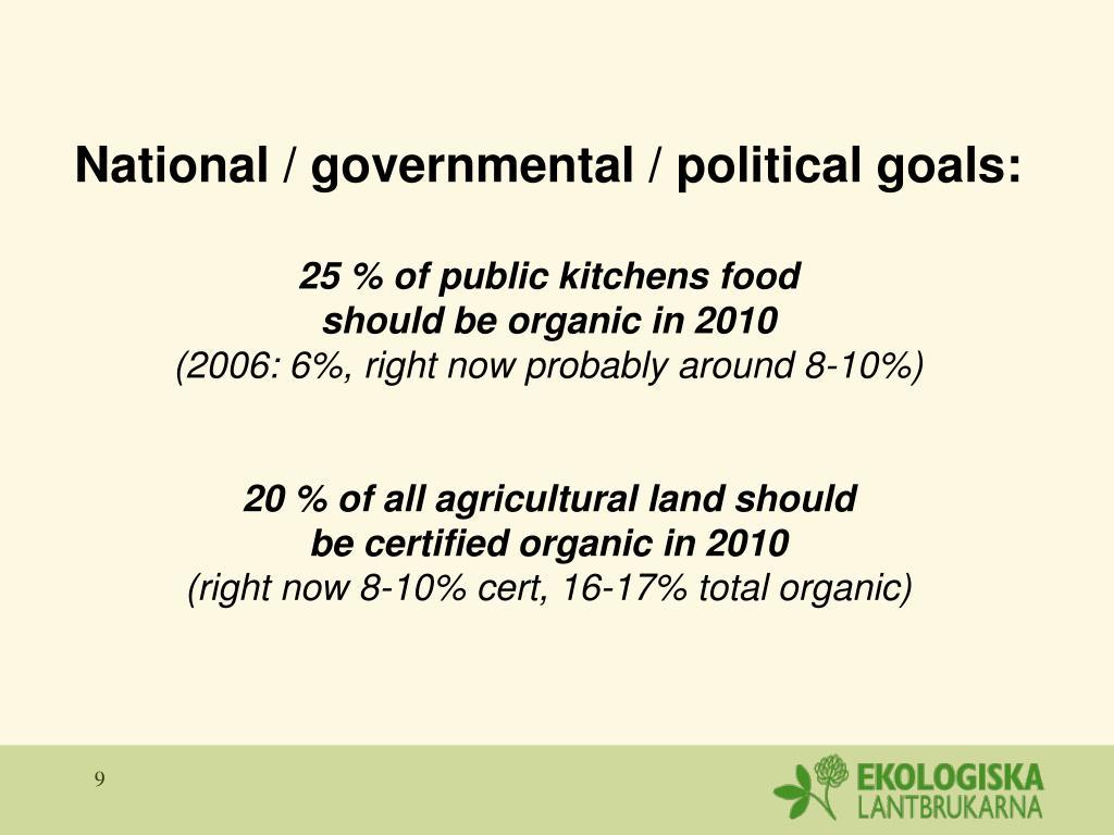 National / governmental / political goals: