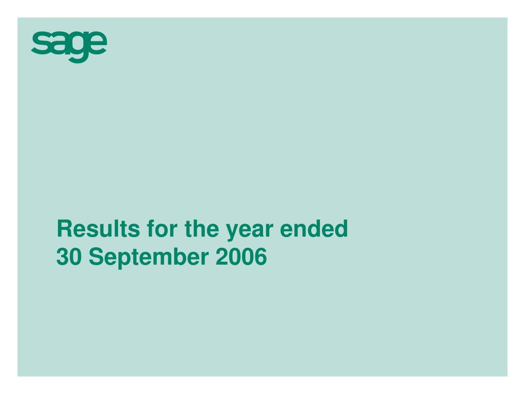 results for the year ended 30 september 2006 l.