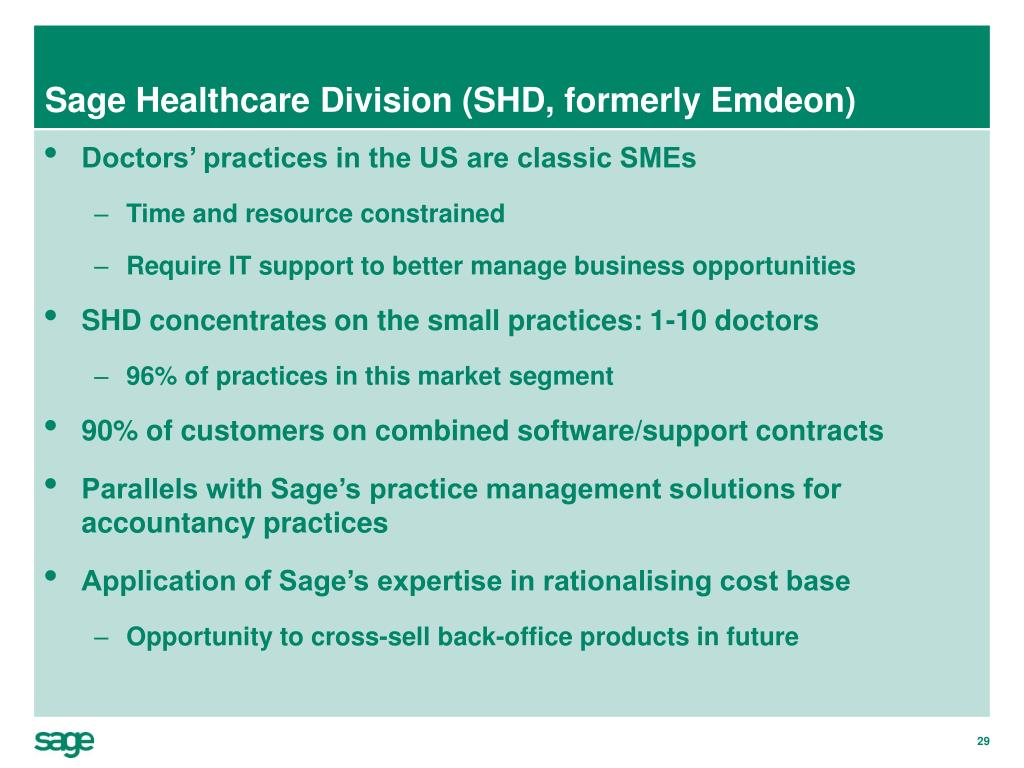 Sage Healthcare Division (SHD, formerly Emdeon)